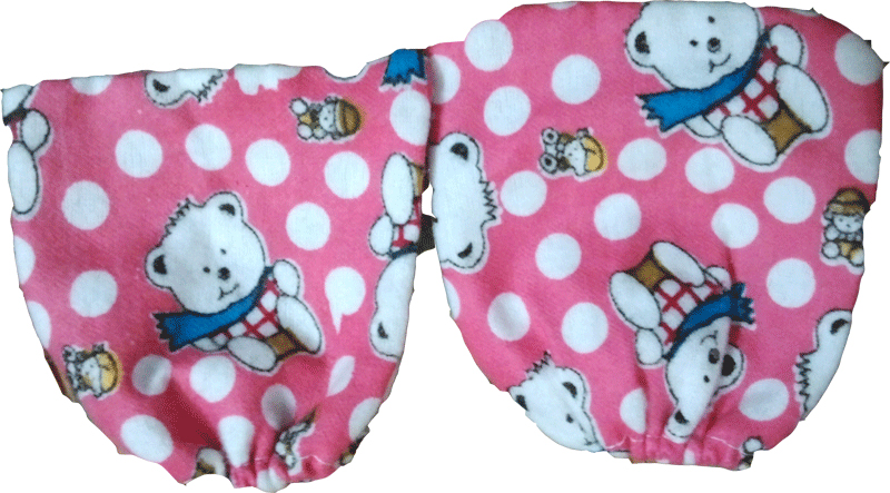 100% Cotton Flannel Baby Hand Mittins (Pair of 2) <br/>                         Min. order quantity - 100 piece
